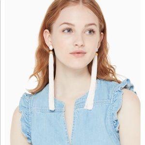 NWT Kate Spade ♠️ White Tassel Statement Earrings